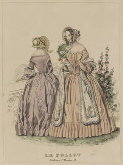 Toilettes de Longchamps, May 1841, published by Dobbs & Co, published in  The Court Magazine and Monthly Critic and Lady's Magazine and Museum, first published in  Le Follet, Courrier des Salons, Journal des Modes - NPG D47878