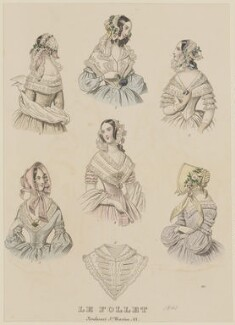 Dinner dresses, home morning dress and evening full dress, August 1841, published by Dobbs & Co, published in  The Court Magazine and Monthly Critic and Lady's Magazine and Museum, first published in  Le Follet, Courrier des Salons, Journal des Modes - NPG D47880