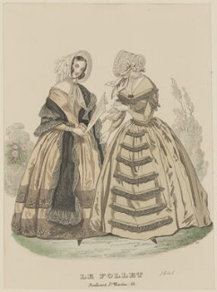 Walking dresses, June 1841, published by Dobbs & Co, published in  The Court Magazine and Monthly Critic and Lady's Magazine and Museum, first published in  Le Follet, Courrier des Salons, Journal des Modes - NPG D47879