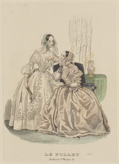 Dinner dresses, June 1841, published by Dobbs & Co, published in  The Court Magazine and Monthly Critic and Lady's Magazine and Museum, first published in  Le Follet, Courrier des Salons, Journal des Modes - NPG D47882