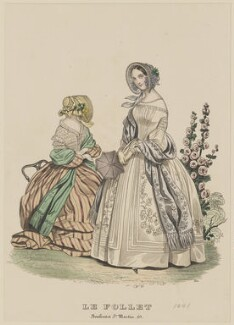 Carriage costume and walking dress, October 1841, published by Dobbs & Co, published in  The Court Magazine and Monthly Critic and Lady's Magazine and Museum, first published in  Le Follet, Courrier des Salons, Journal des Modes - NPG D47883