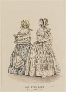 Walking dress, April 1841, published by Dobbs & Co, published in  The Court Magazine and Monthly Critic and Lady's Magazine and Museum, first published in  Le Follet, Courrier des Salons, Journal des Modes - NPG D47884