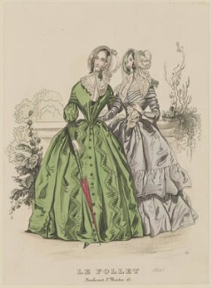 Carriage costume and visiting dress, October 1841, published by Dobbs & Co, published in  The Court Magazine and Monthly Critic and Lady's Magazine and Museum, first published in  Le Follet, Courrier des Salons, Journal des Modes - NPG D47885