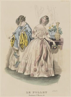 Ball dresses, March 1842, published by Dobbs & Co, published in  The Court Magazine and Monthly Critic and Lady's Magazine and Museum, first published in  Le Follet, Courrier des Salons, Journal des Modes - NPG D47889