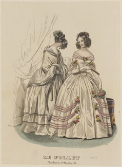 Dinner and evening dresses, January 1842, published by Dobbs & Co, published in  The Court Magazine and Monthly Critic and Lady's Magazine and Museum, first published in  Le Follet, Courrier des Salons, Journal des Modes - NPG D47890