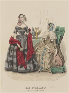 Dinner dress and home morning dress, March 1842, published by Dobbs & Co, published in  The Court Magazine and Monthly Critic and Lady's Magazine and Museum, first published in  Le Follet, Courrier des Salons, Journal des Modes - NPG D47891