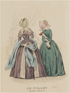Promenade and carriage costume, April 1842, published by Dobbs & Co, published in  The Court Magazine and Monthly Critic and Lady's Magazine and Museum, first published in  Le Follet, Courrier des Salons, Journal des Modes - NPG D47892