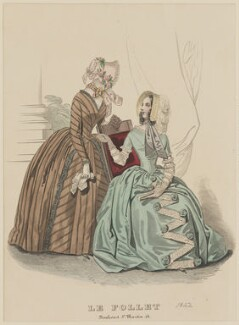 Promenade dresses, May 1842, published by Dobbs & Co, published in  The Court Magazine and Monthly Critic and Lady's Magazine and Museum, first published in  Le Follet, Courrier des Salons, Journal des Modes - NPG D47894