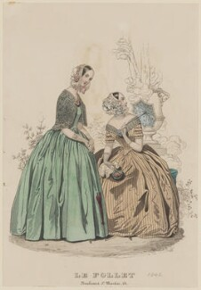 Dinner dresses, July 1842, published by Dobbs & Co, published in  The Court Magazine and Monthly Critic and Lady's Magazine and Museum, first published in  Le Follet, Courrier des Salons, Journal des Modes - NPG D47898