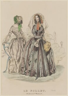 Promenade and carriage dress, July 1842, published by Dobbs & Co, published in  The Court Magazine and Monthly Critic and Lady's Magazine and Museum, first published in  Le Follet, Courrier des Salons, Journal des Modes - NPG D47899