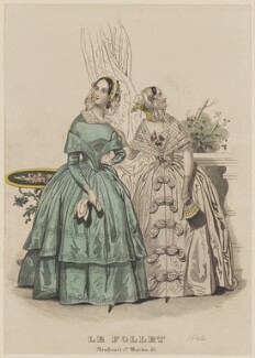 Toilette d'interieur, August 1842, published by Dobbs & Co, published in  The Court Magazine and Monthly Critic and Lady's Magazine and Museum, first published in  Le Follet, Courrier des Salons, Journal des Modes - NPG D47900