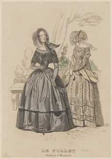 Toilette de deuil and toilette de ville, September 1842, published by Dobbs & Co, published in  The Court Magazine and Monthly Critic and Lady's Magazine and Museum, first published in  Le Follet, Courrier des Salons, Journal des Modes - NPG D47903