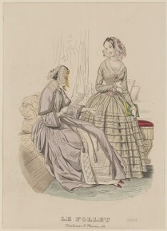Toilettes d'interieur, December 1842, published by Dobbs & Co, published in  The Court Magazine and Monthly Critic and Lady's Magazine and Museum, first published in  Le Follet, Courrier des Salons, Journal des Modes - NPG D47907