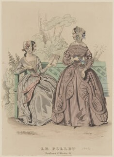 'Toilettes de soirée et de spectacle', October 1842, published by Dobbs & Co, published in  The Court Magazine and Monthly Critic and Lady's Magazine and Museum, first published in  Le Follet, Courrier des Salons, Journal des Modes - NPG D47906