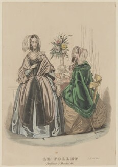 Visiting or walking dress, November 1842, published by Dobbs & Co, published in  The Court Magazine and Monthly Critic and Lady's Magazine and Museum, first published in  Le Follet, Courrier des Salons, Journal des Modes - NPG D47909