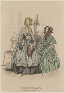 Visiting or walking dress, November 1842, published by Dobbs & Co, published in  The Court Magazine and Monthly Critic and Lady's Magazine and Museum, first published in  Le Follet, Courrier des Salons, Journal des Modes - NPG D47910