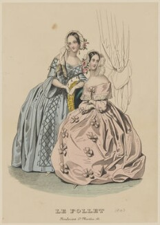 Dancing and evening costumes, February 1843, published by Dobbs & Co, published in  The Court Magazine and Monthly Critic and Lady's Magazine and Museum, first published in  Le Follet, Courrier des Salons, Journal des Modes - NPG D47911