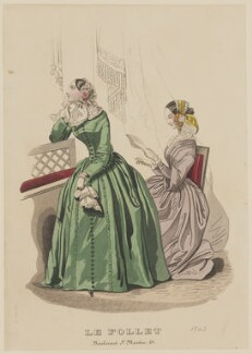 Toilette d'intérieur, January 1843, published by Dobbs & Co, published in  The Court Magazine and Monthly Critic and Lady's Magazine and Museum, first published in  Le Follet, Courrier des Salons, Journal des Modes - NPG D47912