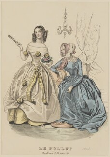Visiting and walking dress, April 1843, published by Dobbs & Co, published in  The Court Magazine and Monthly Critic and Lady's Magazine and Museum, first published in  Le Follet, Courrier des Salons, Journal des Modes - NPG D47913