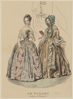 Walking dress and ball dress, March 1843, published by Dobbs & Co, published in  The Court Magazine and Monthly Critic and Lady's Magazine and Museum, first published in  Le Follet, Courrier des Salons, Journal des Modes - NPG D47915