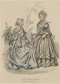 Walking and visiting dress, May 1843, published by Dobbs & Co, published in  The Court Magazine and Monthly Critic and Lady's Magazine and Museum, first published in  Le Follet, Courrier des Salons, Journal des Modes - NPG D47916