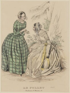 Morning home costume, May 1843, published by Dobbs & Co, published in  The Court Magazine and Monthly Critic and Lady's Magazine and Museum, first published in  Le Follet, Courrier des Salons, Journal des Modes - NPG D47919