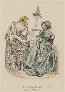 Visiting dress, April 1843, published by Dobbs & Co, published in  The Court Magazine and Monthly Critic and Lady's Magazine and Museum, first published in  Le Follet, Courrier des Salons, Journal des Modes - NPG D47917