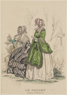 Visiting dress, June 1843, published by Dobbs & Co, published in  The Court Magazine and Monthly Critic and Lady's Magazine and Museum, first published in  Le Follet, Courrier des Salons, Journal des Modes - NPG D47918