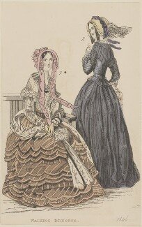 'Walking dresses', October 1845, published by George Henderson, published in  The Ladies' Cabinet of Fashion, Music and Romance - NPG D47951