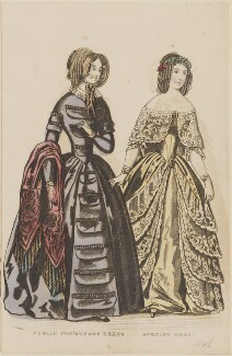 'Public promenade dress. Evening dress', December 1845, published by George Henderson, published in  The Ladies' Cabinet of Fashion, Music and Romance - NPG D47954