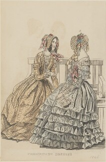 'Promenade dresses', September 1845, published by George Henderson, published in  The Ladies' Cabinet of Fashion, Music and Romance - NPG D47955