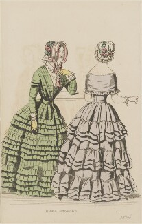 'Home dresses', September 1845 (Home dress and home dinner dress), published by George Henderson, published in  The Ladies' Cabinet of Fashion, Music and Romance - NPG D47956