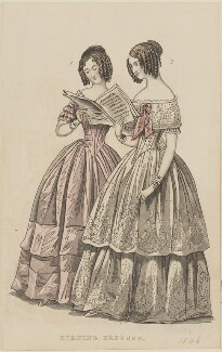 'Evening dresses', September 1845, published by George Henderson, published in  The Ladies' Cabinet of Fashion, Music and Romance - NPG D47962