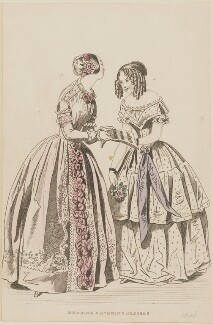 'Morning and evening dresses', August 1845 (Morning concert dress and evening dress), published by George Henderson, published in  The Ladies' Cabinet of Fashion, Music and Romance - NPG D47963