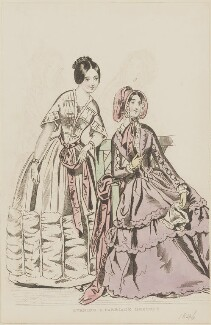 'Evening and carriage dresses', August 1845, published by George Henderson, published in  The Ladies' Cabinet of Fashion, Music and Romance - NPG D47960