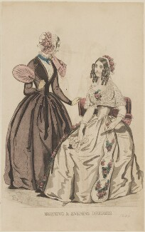 'Morning and evening dresses', March 1845, by Davey, published by  George Henderson, published in  The Ladies' Cabinet of Fashion, Music and Romance - NPG D47957