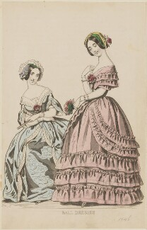 'Ball dresses', March 1845, by Davey, published by  George Henderson, published in  The Ladies' Cabinet of Fashion, Music and Romance - NPG D47961