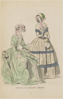 'Morning and carriage dresses', July 1844, published by George Henderson, published in  The Ladies' Cabinet of Fashion, Music and Romance - NPG D47933