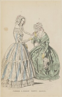 'Carriage and morning visiting dresses', July 1844, published by George Henderson, published in  The Ladies' Cabinet of Fashion, Music and Romance - NPG D47936