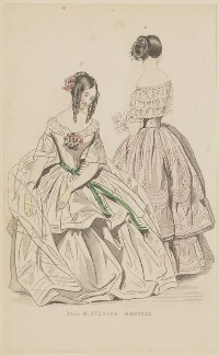 'Ball and evening dresses', August 1844, published by George Henderson, published in  The Ladies' Cabinet of Fashion, Music and Romance - NPG D47921