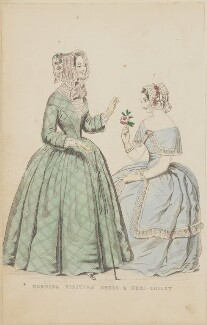 'Morning visiting dress and demi-toilet', August 1844, published by George Henderson, published in  The Ladies' Cabinet of Fashion, Music and Romance - NPG D47924