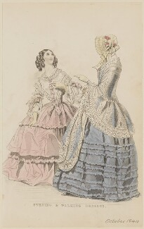 'Evening and walking dresses', August 1844, published by George Henderson, published in  The Ladies' Cabinet of Fashion, Music and Romance - NPG D47928