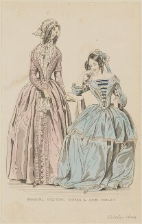 'Morning visiting dress and demi toilet', August 1844, published by George Henderson, published in  The Ladies' Cabinet of Fashion, Music and Romance - NPG D47931