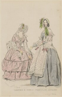 'Carriage and public promenade dresses', June 1844, published by George Henderson, published in  The Ladies' Cabinet of Fashion, Music and Romance - NPG D47929