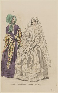 'Public promenade and bridal dresses', May 1844, published by George Henderson, published in  The Ladies' Cabinet of Fashion, Music and Romance - NPG D47941