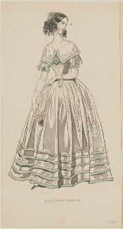 'Evening dress', September 1842, published by George Henderson, published in  The Ladies' Cabinet of Fashion, Music and Romance - NPG D47947
