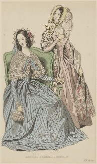 'Morning and carriage dresses', May 1842, published by George Henderson, published in  The Ladies' Cabinet of Fashion, Music and Romance - NPG D47946
