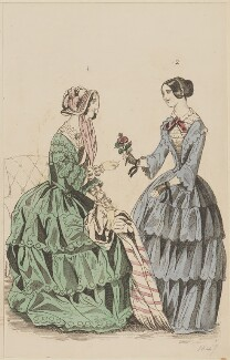Morning visiting dress and morning dress, September 1846, published by Elizabeth Henderson, published in  The Ladies' Cabinet of Fashion, Music and Romance - NPG D47972