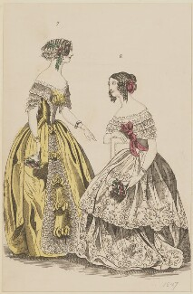 Evening dresses, September 1846, published by Elizabeth Henderson, published in  The Ladies' Cabinet of Fashion, Music and Romance - NPG D47979