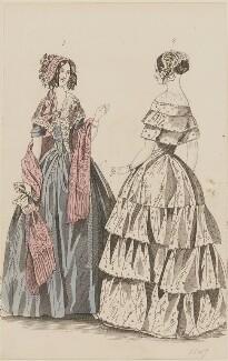 Demi-toilette and evening dress, October 1846, published by Elizabeth Henderson, published in  The Ladies' Cabinet of Fashion, Music and Romance - NPG D47974